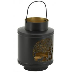 Photo DBO3990 : Lanterne en métal découpé cerfs