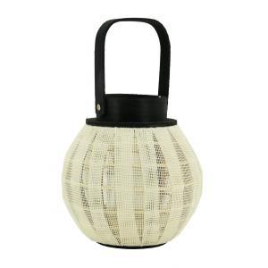 Photo DBO4050V : Lanterne ronde en bois et coton tissé