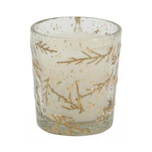 Photo DBO4090V : Bougie en verre avec décor fougère doré