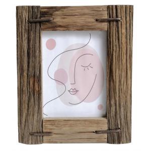 Photo DCA2643V : Cadre photo en bois avec décor abstrait rosé