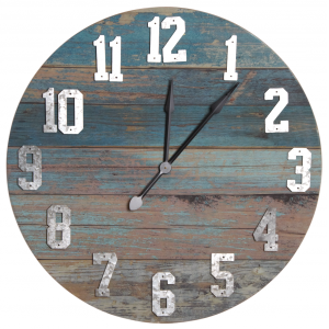 Photo DHL1560 : Horloge en bois bleu vieilli