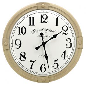 Photo DHL1610 : Horloge en bois sculpté et métal émaillé Grand Hôtel