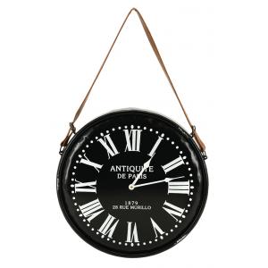 Photo DHL1630 : Horloge en métal noir laqué Antiquités de Paris