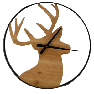 Photo DHL1640 : Horloge cerf en bois et métal
