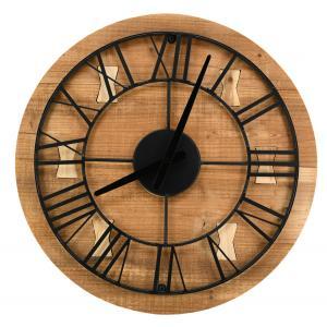 Photo DHL1650 : Horloge en bois recyclé et métal