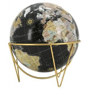Photo DMA1590 : Black resin and gold metal earth globe