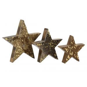 Photo DMA167S : Étoiles à poser en bois et peau de vache