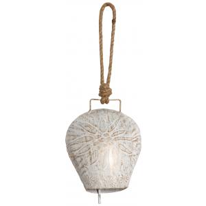 Photo DMO1641 : Cloche edelweiss en métal blanchi