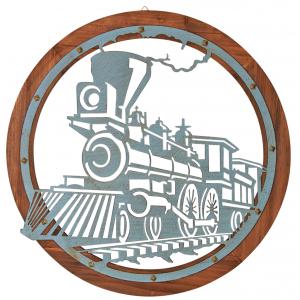 Photo DMU2070 : Cadre train en métal sur socle bois