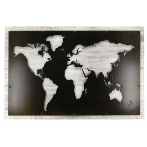 Photo DMU2140 : Wood and metal world map