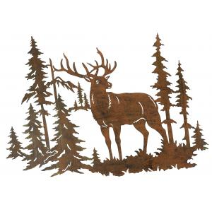 Photo DMU2180 : Metal wall decor Deer and Forest