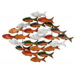 Photo DMU2240 : Décoration murale poissons multicolores en albasia et métal