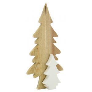 Photo DNO1670 : Décor sapins en bois et céramique