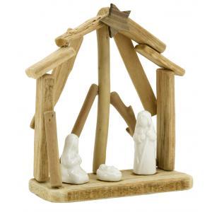 Photo DNO1680 : Crèche en bois et céramique