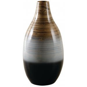 Photo DVA1650 : Black and white lacquered bamboo vase