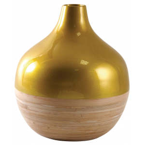 Photo DVA1710 : Gold and natural lacquered bamboo ball vase