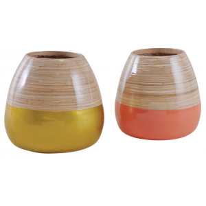 Photo DVA172S : Gold, pink and natural lacquered bamboo ball vase.