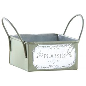 Photo GCO3890 : Mini corbeille métal laqué olive - Plaisir -