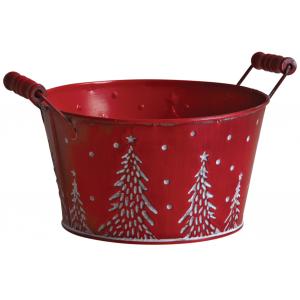 Photo GCO3950 : Corbeille ronde en métal rouge motif sapins et neige