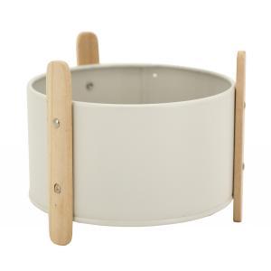 Photo GCO4380 : Cache-pot en métal laqué blanc et bois