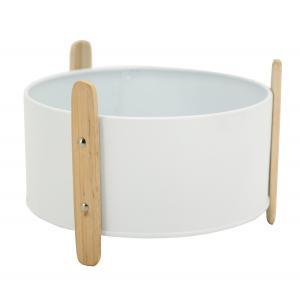 Photo GCO4400 : Cache-pot en métal laqué blanc et bois