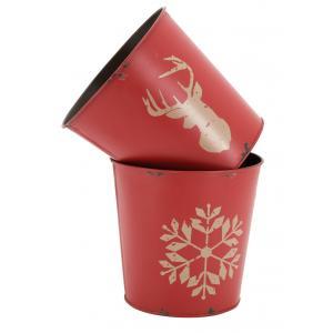 Photo GCP2200 : Cache-pot en métal vieilli teinté rouge Cerf ou Flocon