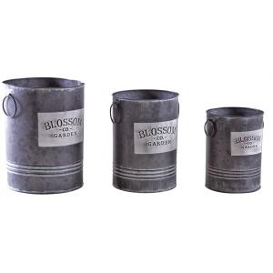 Photo GVA124S : Vases en métal gris