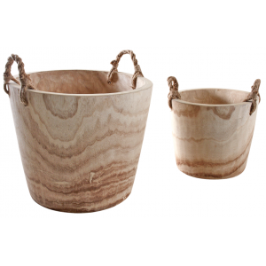 Photo JCP400S : Série de 2 cache-pots en paulownia avec anses cordes.