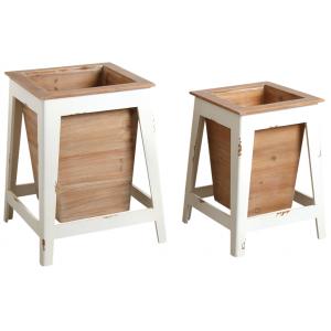 Photo JCP402S : Cache-pots en bois blanc et naturel