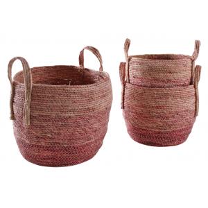 Photo JCP404S : Cache-pots en maïs teinté rose