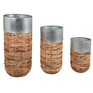 Photo JCP407S : Cache-pots haut en rotin et zinc