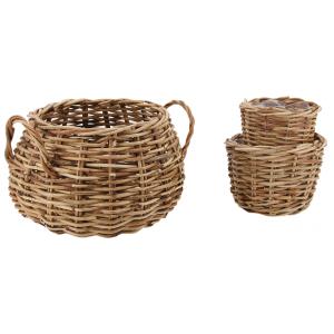 Photo JCP409S : Cache-pots assortis en rotin antique