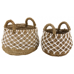 Photo JCP415S : Cache-pots en jonc naturel et crochet