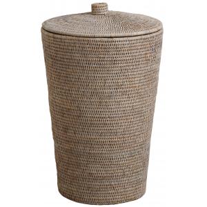 Photo KLI3620 : Whitewashed rattan laundry basket