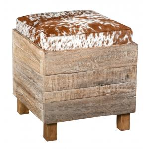 Photo KMA2120 : Square recycled wood and cow skin chest and pouf