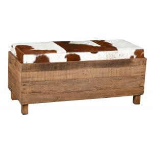 Photo KMA2130 : Recycled wood and cow skin chest and pouf