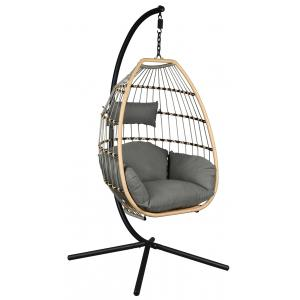 Photo MBA1300C : Design polyresin and steel hanging chair