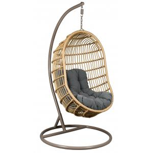 Photo MBA1310C : Oval polyresin and steel hanging chair