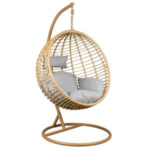 Photo MBA1320C : Polyresin and steel hanging chair stained camel