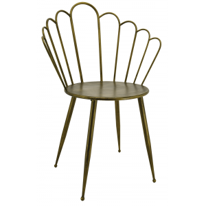 Photo MCH1700 : Chaise en métal doré antique
