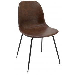 Photo MCH1721 : Brown imitation leather and metal chair