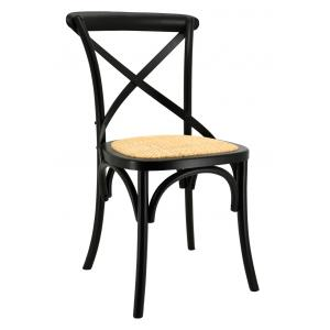 Photo MCH1740 : Black lacquered birch wood et natural rattan chairs