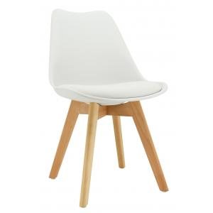 Photo MCH1781C : White polypro and beechwood chair with cushion