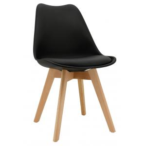 Photo MCH1782C : Black polypro and beechwood chair