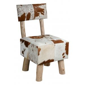 Photo MCH1800 : Cowskin and eucalyptus wood chair