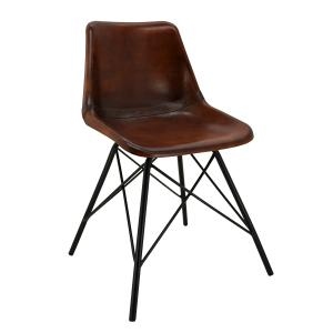 Photo MCH1820C : Leather and metal chair