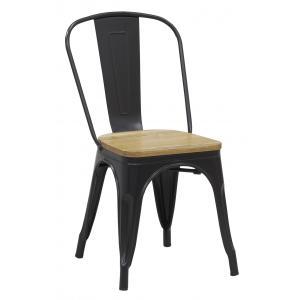 Photo MCH1840 : Chaise industrielle en métal et bois d'orme huilé