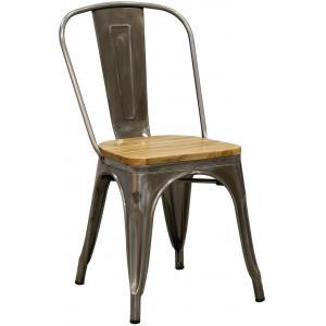Photo MCH1850 : Chaise en acier brossé et bois d'orme huilé