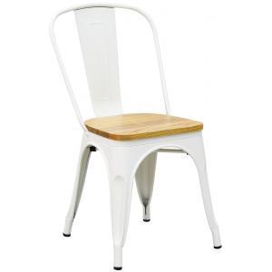 Photo MCH1860 : Chaise industrielle en métal et bois d'orme huilé