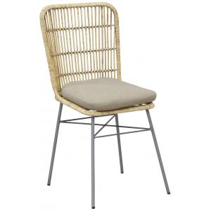 Photo MCH1870C : Chaise en rotin patiné et métal